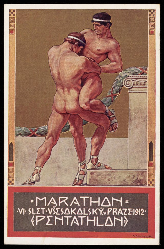 Image of postcard with colour painting of two nude men wrestling.