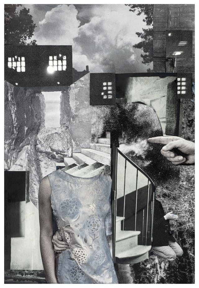 Photographic collage using images cut out from magazines and books. The scene depicts a woman