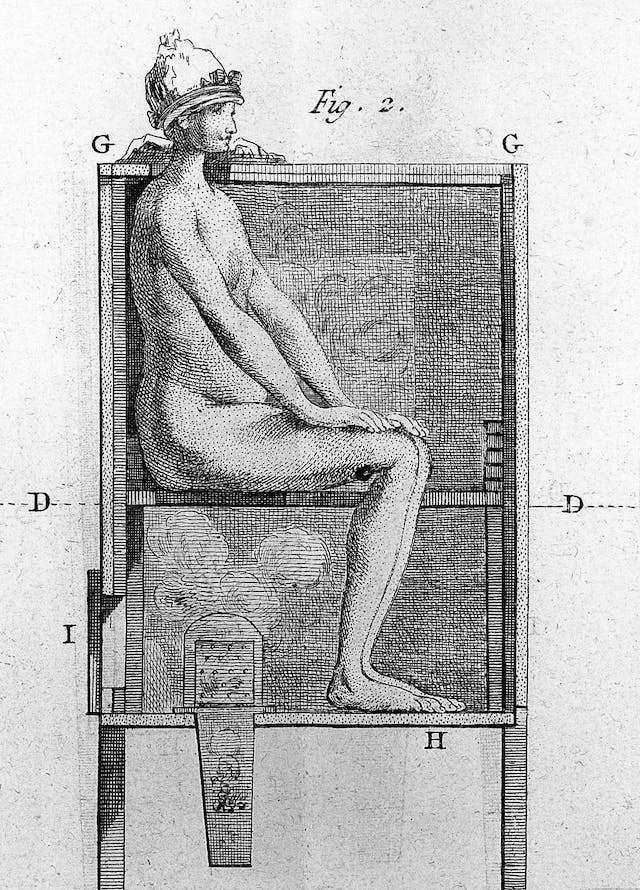 Treatment of syphilis by fumigation, Lalouette, 1776
