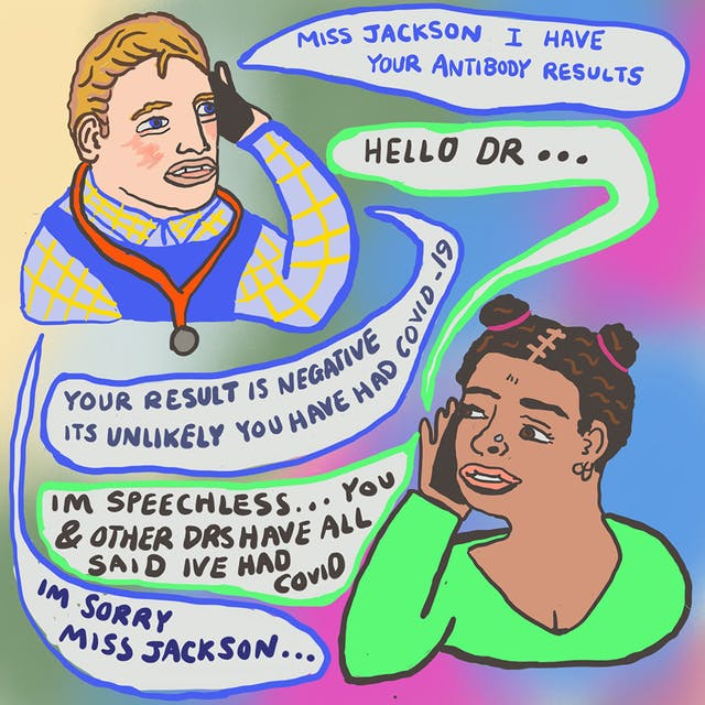 Webcomic detailing a telephone conversation between two drawn individuals. The conversation says that one of the individuals, Miss Jackson, has a negative result for an antibody test for COVID-19, meaning it is unlikely they have had the virus.