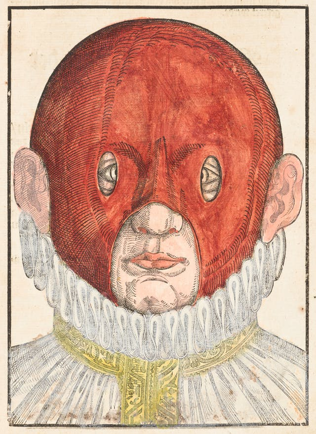 Coloured engraving from a 16th century book showing a person