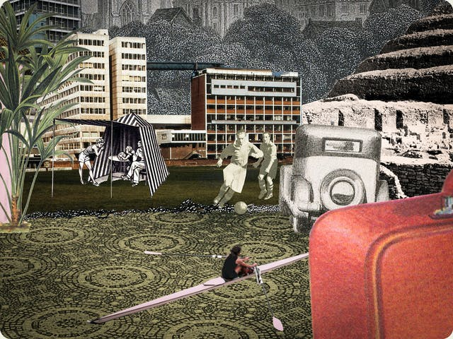 Artwork using collage.  The collaged elements are made up archive material which includes, vintage photographs, etchings, painted illustrations, lithographic prints and line drawings. This artwork depicts a scene with an urban and rural combined background. In the middle and foreground are a couple of men playing football and a woman in a scull. On the left is a family in a beach tent and on the right is the corner of a suitcase and the rear end of an old car.
