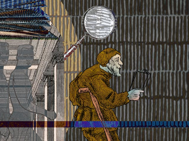 An abstract digital illustration depicting a young Victorian man walking into the entrance of a library and being transformed into an ill looking, tired and diseased old man. In the background is an archive image of a place of learning, decorated with a magnifying glass as an ornament and open book.
