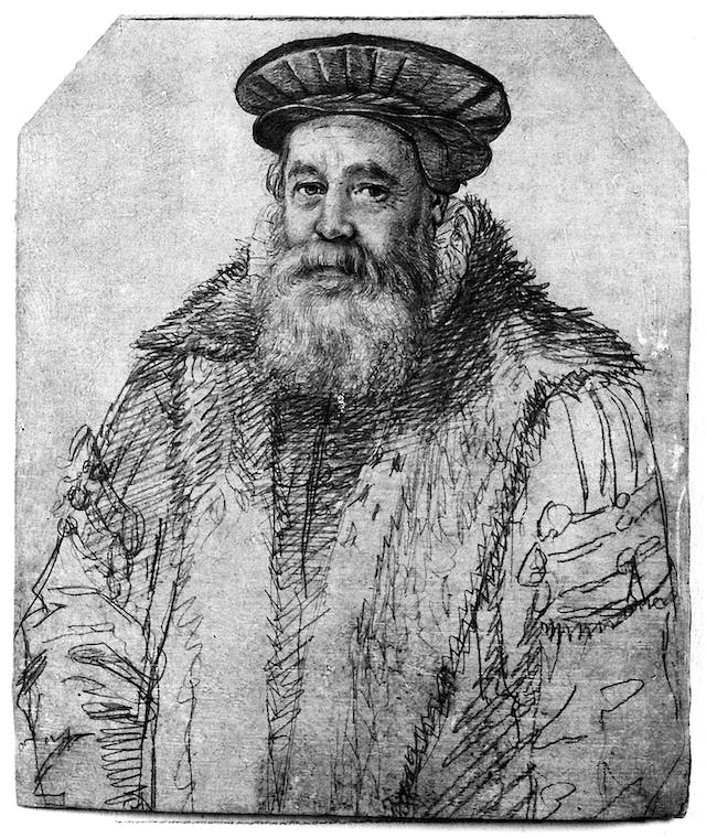 Black and white sketch of a bearded man in a heavy coat and Tudor-style bonnet.