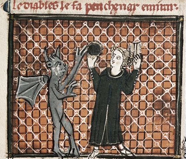 Manuscript image showing a devil tempting a woman through flattery as she gazes into a mirror and combs her hair.