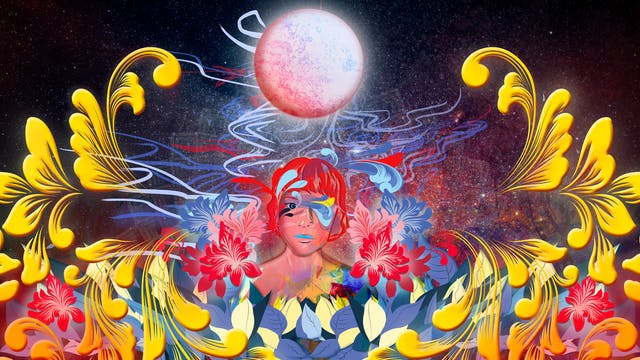 Digital artwork using a colourful, fantastical approach. The artwork shows the head of a woman in the centre against a cosmic, star scattered background. Above her head is a moon-like orb. Swirling over and around her head, and out to the edges of the image are floral motifs and squiggly lines of reds, yellow, oranges and blues. The whole scene has a dream-like feeling to it.