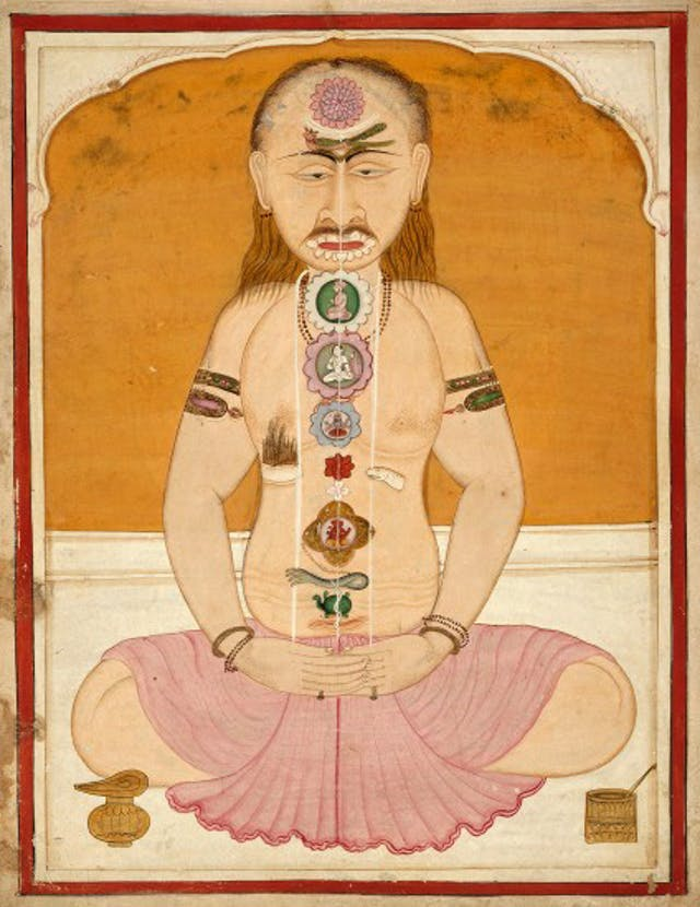 The tantric body showing the chakras and kundalini