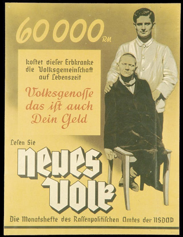 German eugenics propagand showing a seated disabled man with a male attendant in an white jacket standing behind him.