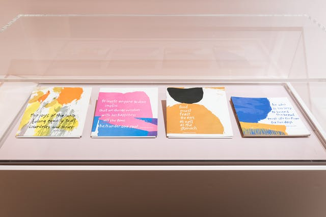 Photograph of a glass exhibition display case showing four colourful thin books laid out side by side, left to right. The covers contain text and abstract splodges of colourful shapes.