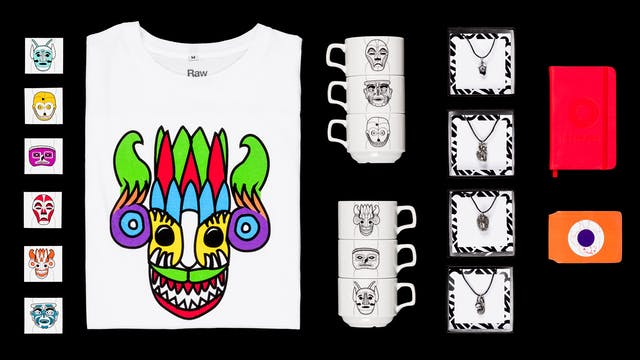 Photograph of products created by the RawMinds group, including T-shirts, mugs and jewellery.