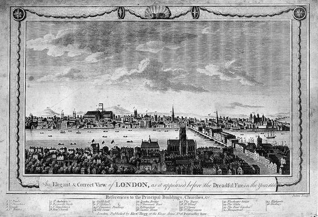 Black and white etching of London in 1666 before the Great Fire, showing a bridge to the right and with various landmarks such as the old St Paul