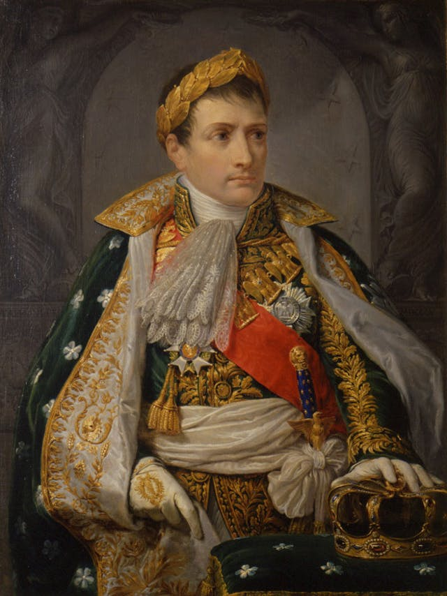 Colour painting of a powerful man in military dress and wearing a wreath wrought from gold.