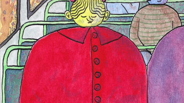 Slice of Sick comic by Rob bidder. The illustration depicts people sat on a bus, with the central figure wearing a red coat and hat, with their eyes shut.