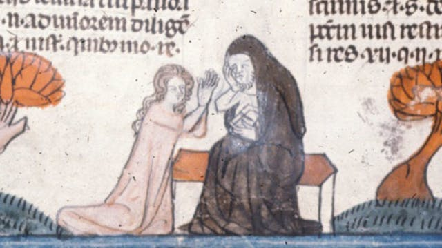Detail of a bas-de-page scene of a woman making a confession to a hermit.