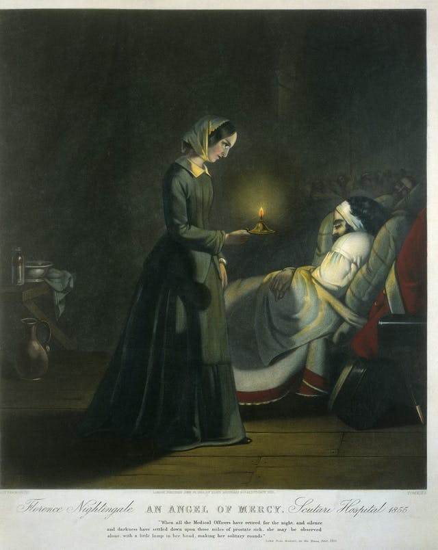Coloured drawing of a women wearing a nurse