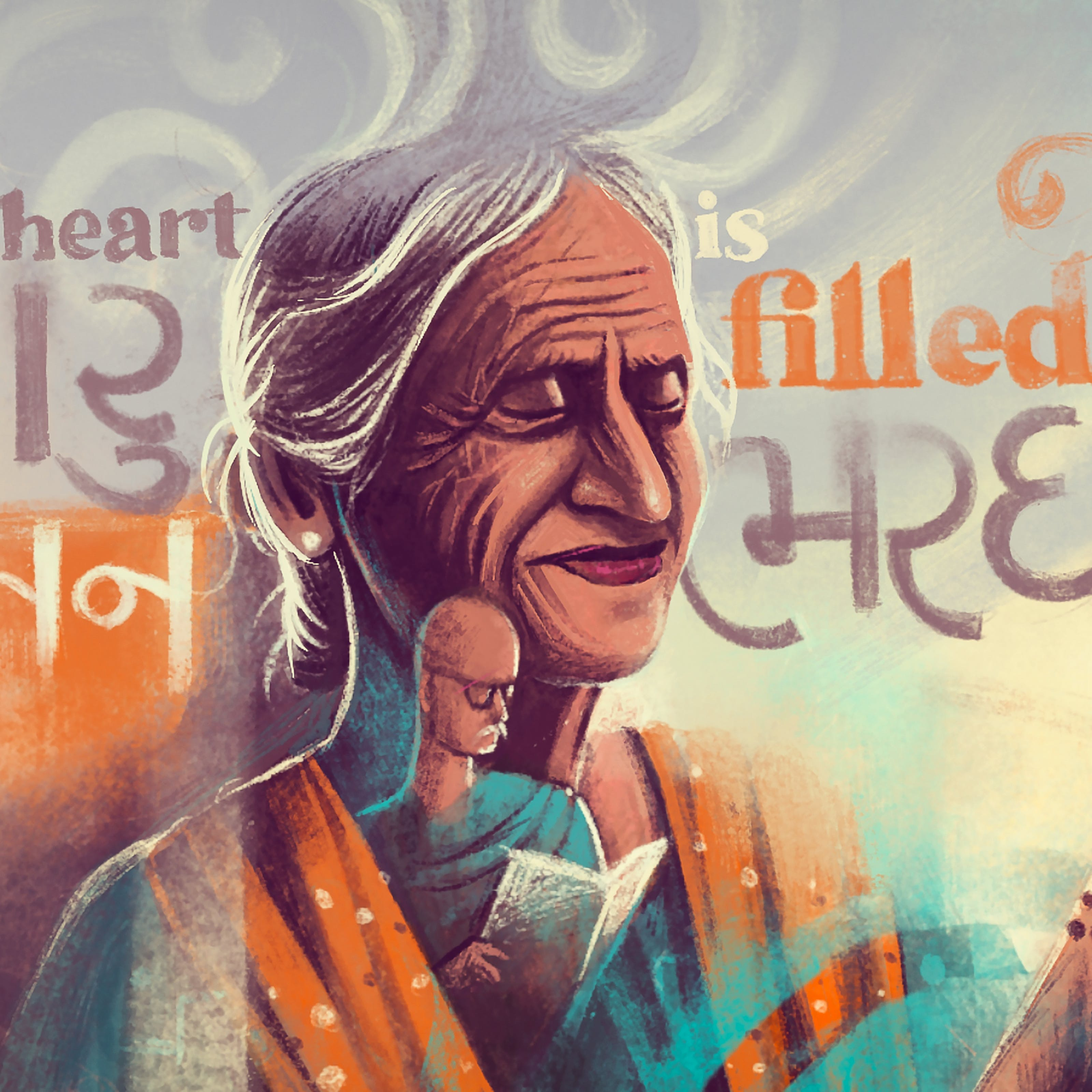 Digital artwork in the style of a pastel drawing using muted hues of blues, oranges and mauves. The drawing shows an older woman in the centre from the shoulders up. She has her eyes closed and a gentle smile on her face. Her long silver grey hair is tied behind her head. Her left hand is raised up and a beaded necklace flows through her fingers and around her wrist. She is wearing an orange shawl over her shoulders. Behind her in a swirling cloud like backdrop are words written in Gujarati with a rough English translation, 'My heart is filled'. Overlaid in an abstract way a small male figures appears on top of her neck and chest, as if appearing from her shawl. The small figure is wearing glasses and has a white moustache. He is holding a large book or newspaper in his hands, which he is reading.