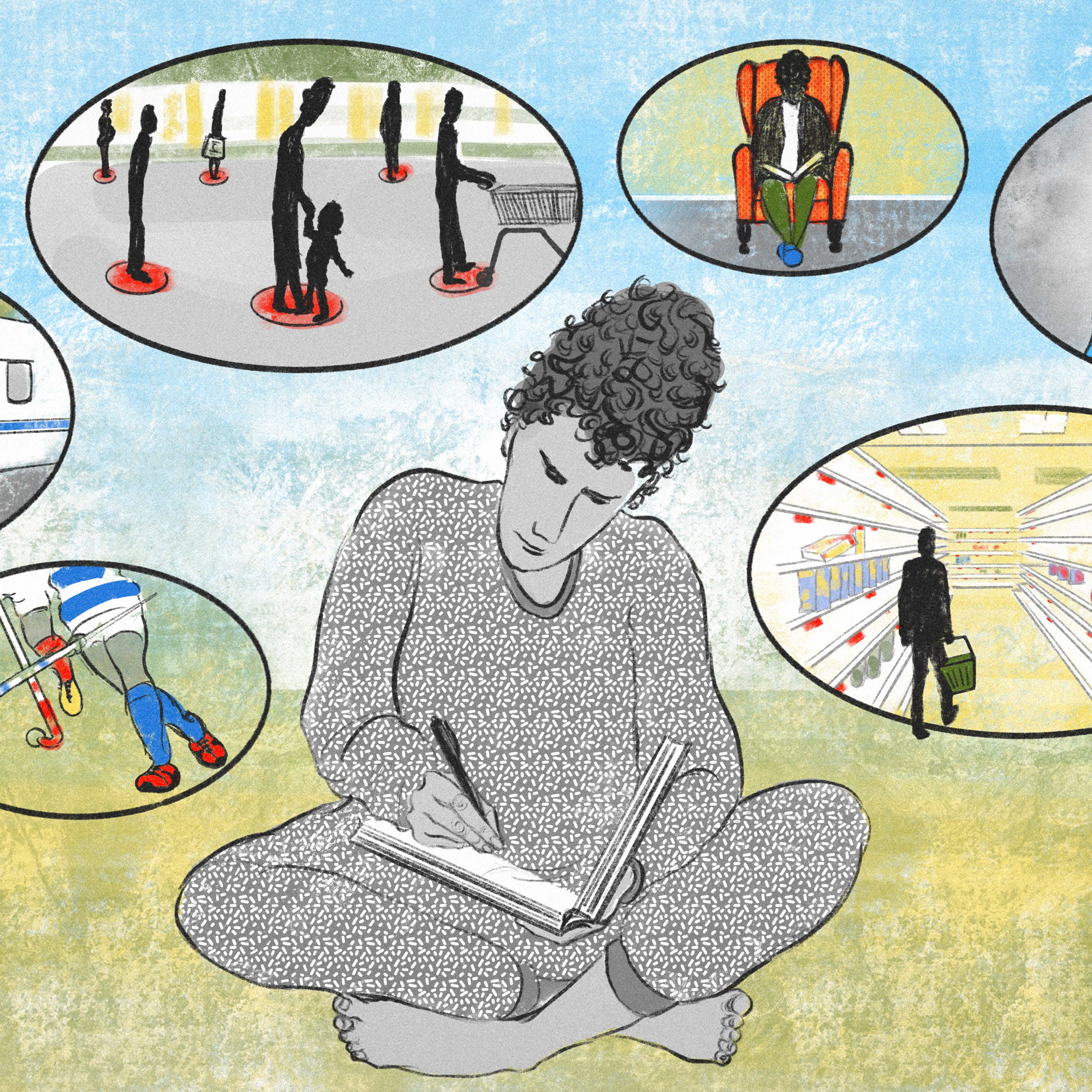 A digital illustration of three people writing in their journals in isolation. Surrounding them are the thought bubbles of the writers, each depicting topics and experiences relating to living in lockdown. The bubbles contain a NHS worker in full PPE, empty supermarket shelves, queuing at markers on the street to denote social distance and people living in isolation.