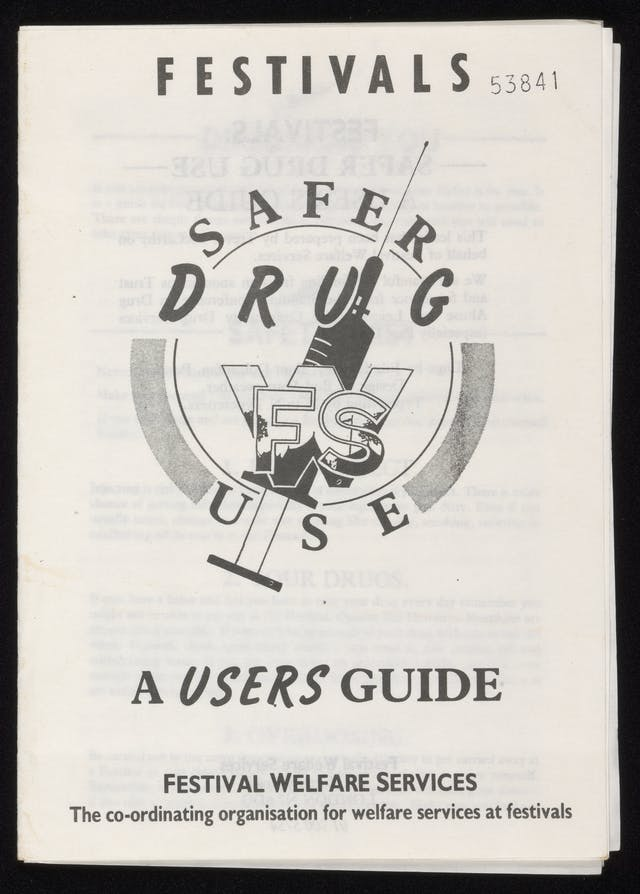 Black and white front cover of a pamphlet featuring an illustration of a syringe.
