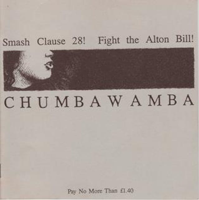 "Cover of the single ""Smash Clause 28!"" by band Chumbawamba, featuring a person"