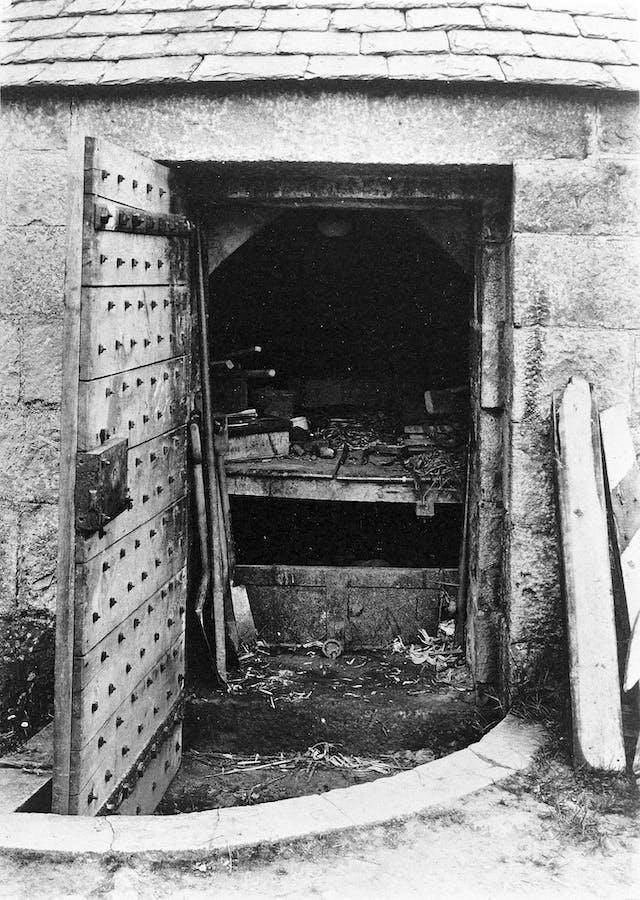 Door open on Vault in graveyard at Udny, Aberdeenshire
