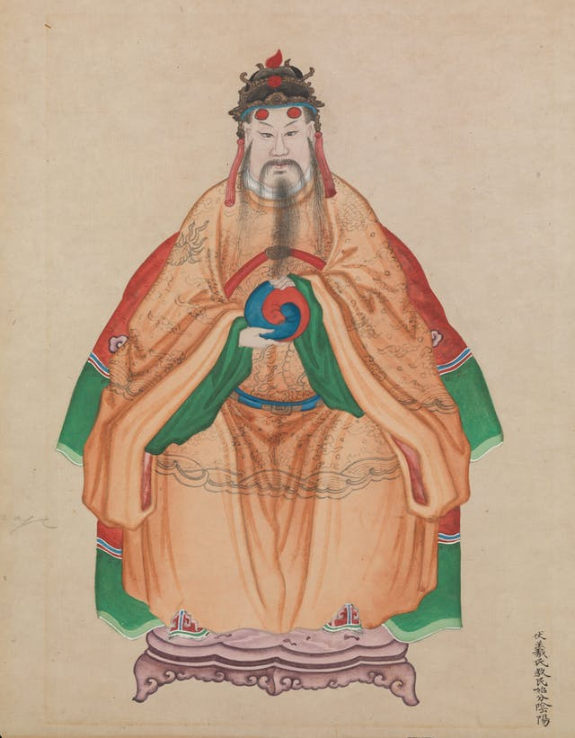 Painting of Chinese Emperor Fu Hsi, wearing traditional costume, holding the