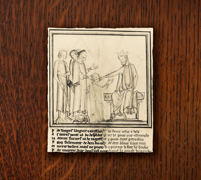 A photograph of an illustration depicting King Edward the Confessor touching the head of a diseased man. The man is kneeling down before the king, his mouth covered with cloth.
