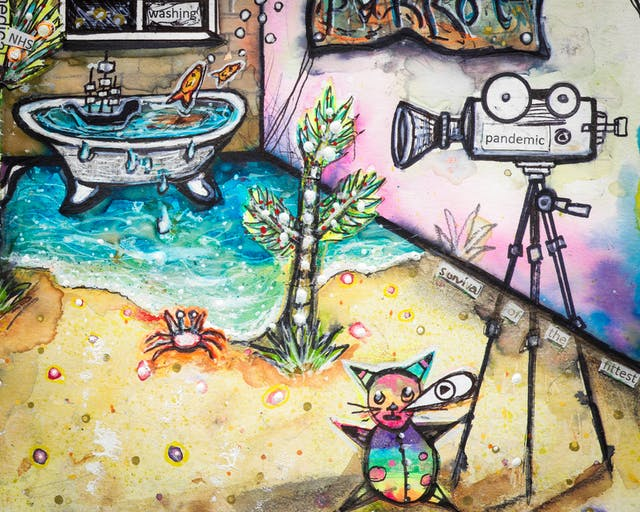 Artwork using watercolour and ink incorporating collaged words throughout the scene. The artwork shows a busy multi-coloured household room. In the background, a bath on which a small galleon sails, overflows with turquois water onto golden sand leading to the foreground where a video camera with the word 'pandemic' is mounted on a tripod. Beneath the video camera there is a rainbow coloured cat with a speech bubble and with the letter 'P' in it.