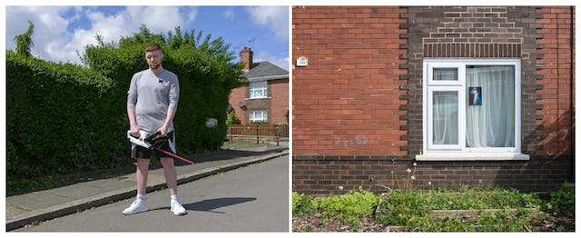 A photographic diptych. The image on the left shows a young man with his hair shaven at the sides and a short trimmed beard. He has an eyebrow piercing, and is wearing white trainers, shorts and a t-shirt. He is standing in a residential road facing the camera holding a hedge trimmer.  Behind him is a tall privet hedge neatly trimmed half way along. The image on the right shows the ground floor of a red brick house with a white PVC window with net curtains. In front of the house are green plants in small raised beds. In the window there is a small painterly picture of Jesus.
