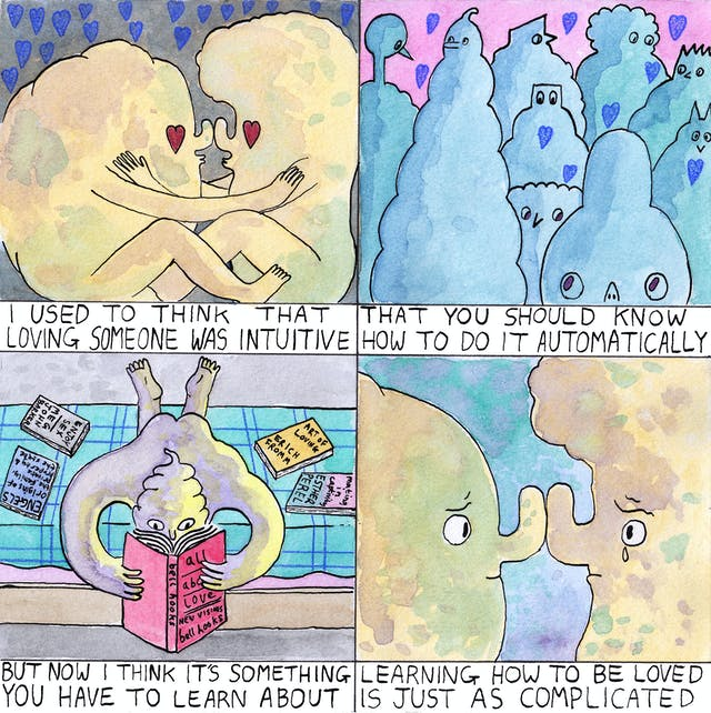 Loving comic by Rob Bidder with four frames. The first frame shows two figures embracing; the second frame depicts a number of figures with love hearts floating above them; the third frame shows a figure in bed reading a book with the title