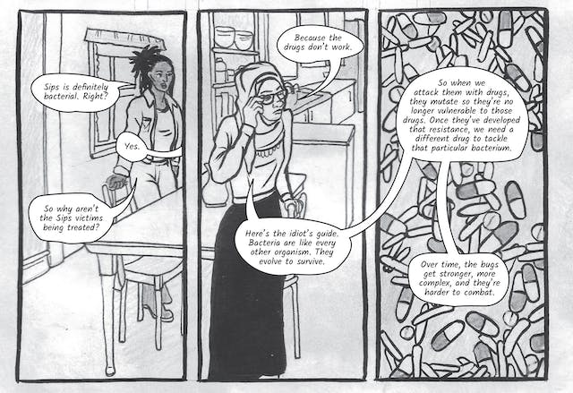 The greyscale graphic novel continues. The ninth image contains three illustrated boxes. The box on the right contains drawings of micro bacteria and medicine pill capsules all mixed together. The left and centre boxes show a scene split across Dr Siddiqui