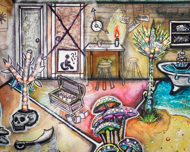 Artwork using watercolour and ink incorporating collaged words throughout the scene. The artwork shows a busy multi-coloured household room. In the background, The image contains elements such as: a treasure chest filled with toilet rolls; a wall clock with oversized hands; a doorway with a large cross drawn through it on which there is a disabled symbol of a wheelchair; and a small rocket with the words 'medical' and 'NHS' taking off out of a palm tree. In the foreground there is a cluster of colourful mushrooms, and to the side of that a cutlass lying on the floor, as well as a small colourful tree growing out of a skull.