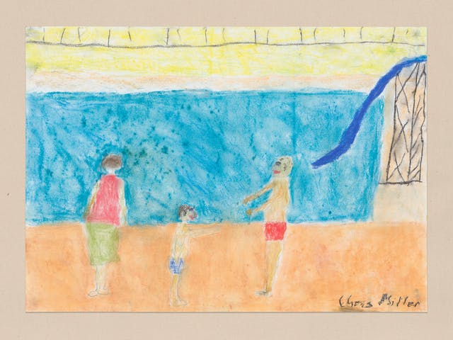 Pencil and crayon on paper artwork by Chris Miller titled 'What do you think of the slide'. In the artwork is a swimming pool scene with a large blue slide.  Three figures are present in the foreground set against an orange floor. The figures appear to be a woman with her back to the viewer, a small child in swimming trunks facing right, towards a man in red swimming trunks who is facing left.