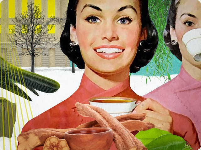 Detail from a larger mixed media digital artwork combining found imagery from vintage magazines and books with painted and textured elements. The overall hues are greens, yellows and pinks. At the centre of the artwork is a woman with short black hair wearing a red/pink Kimono. She is pictured from the shoulders up. In her left raised hand is a white china teacup. She is smiling broadly, looking straight at the viewer. In front of her are brown sticks of the ayahuasca plant and several green leaves. Behind the woman in the background to the right is a large tree in full green leaf. To the right, the same woman is repeated several times. In the first duplication she is slightly paler in tone and the teacup is raised to her lips. To the left of the woman in the centre of the image is a snowy scene surrounding a large industrial building. The lights inside the building are bright yellow with fans of laser lights shining out of the windows towards the viewer.