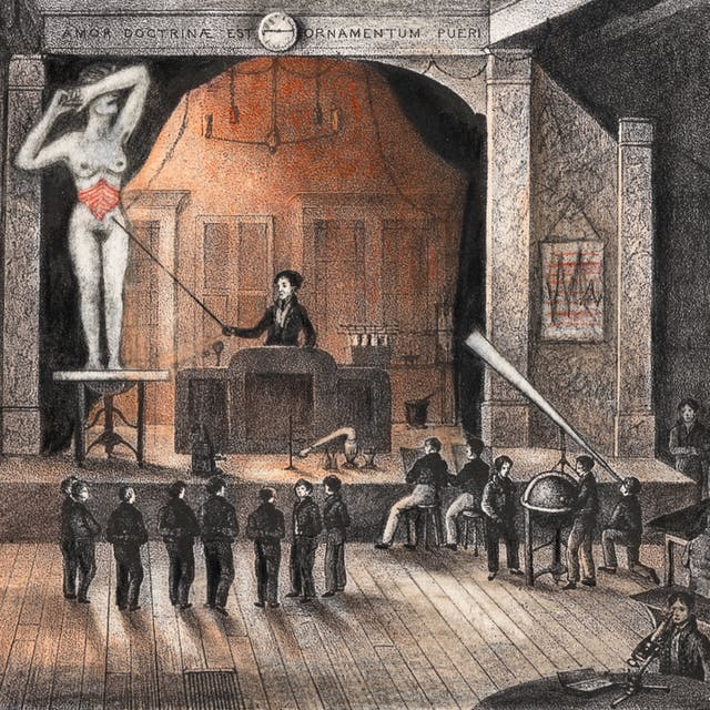 Pencil artwork drawn over a lithograph depicting a large hall with stage.  On the stage is a person standing at a lectern using a stick to point at a large (in scale) unclothed woman standing on a table with her arm covering her face.  The woman belly has been depicted as red.  At the foot of the stage is a crowd of men listening to the presentation.  There are more figures working at various desks around the large hall, including one man using a microscope, another looking through a large telescope, and two others a standing over a large globe.  Above the stage there is a clock that reads the time 14.45, and latin text that reads