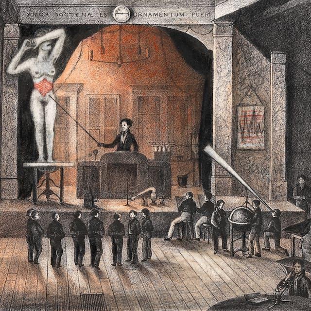 铅笔艺术品在有阶段描述一个大霍尔的石笔画。在舞台上是一个人站在一个讲台上使用一根棍子到一个大(规模)的漂亮的妇女站立在桌子上的桌子上捂着脸她的脸。女人肚子被描绘成红色。在舞台的脚下是一群人,听了演示。还有更多的数字在大厅周围的各个桌子上工作,包括一个使用显微镜的人,另一个人透过大望远镜看,另外两名望着大型望远镜。在舞台上方有一个时钟读取时间14.45,以及读取的拉丁文本
