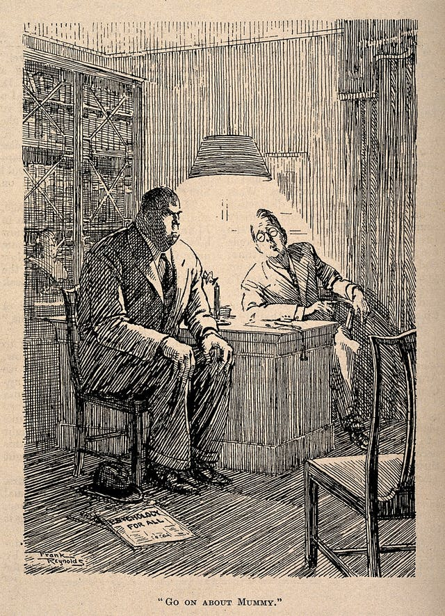 "Reproduction of a line drawing showing a large man in a suit looking furious as another man wearing glasses and sitting behind a desk leans towards him and says ""Go on about mummy"". On the floor is a newspaper that bears the headline ""psychology for all""."
