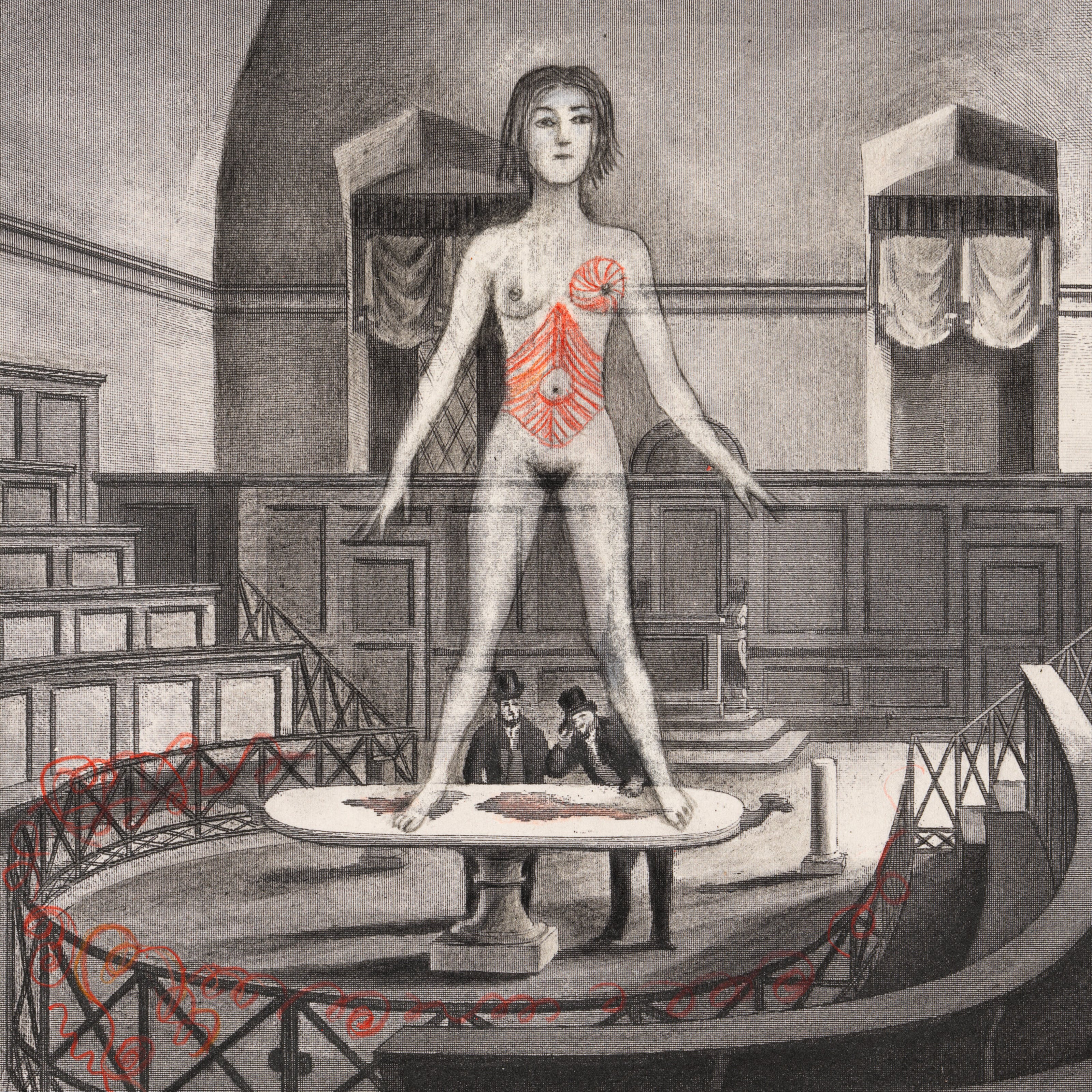 Pencil artwork drawn over an engraving depicting an old anatomy theatre with two men in the centre, by a table looking up towards a large (in scale) unclothed woman standing on the table, arms held away from her body. The whole scene is black and white apart from her torso and left breast, and thin cords woven into some railings which are tinted red.