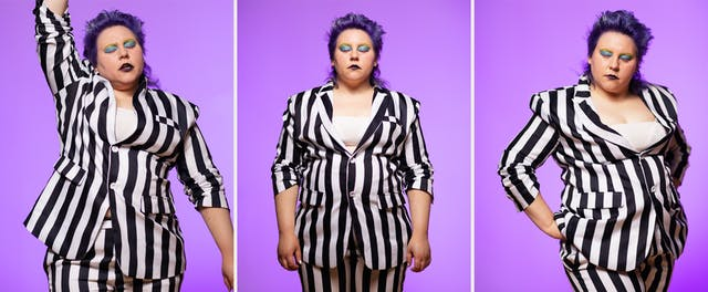Photographic triptych showing a performer from the thigh up, dressed in a black and white vertical striped suit. Their sleeves are pulled up to show their forearms. In all the images they have their eyes closed. In the image on the left their right arm is raised up above their head. In the image in the middle, they have their arms by their side. In the image on the right they have their hands on their hips with their weight shifted on one leg. In all the images their hair has a blue tint and their eyes are made up with blue and yellow make-up.Behind them, the background is a graduated purple tone.