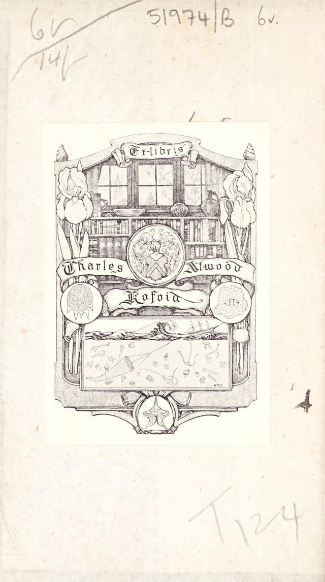 Bookplate in centre of page depicting a bookcase beneath a window.  Around and in front of the bookcase are flowers, a coat of arms, plankton protozoa, and a picture of a ship casting a net to catch more plankton protozoa.