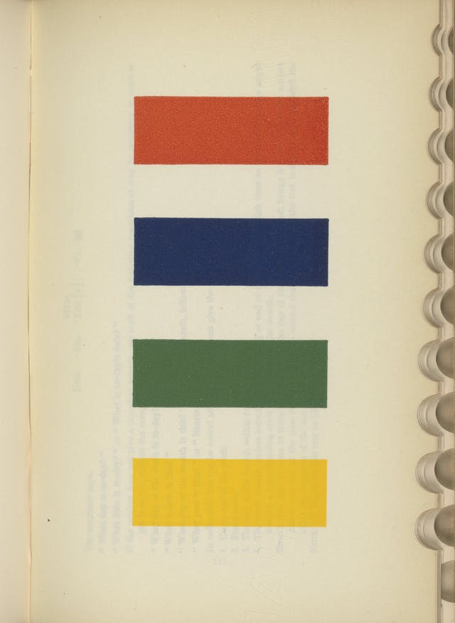 A page from a book showing four uniform blocks, each one a different colour.