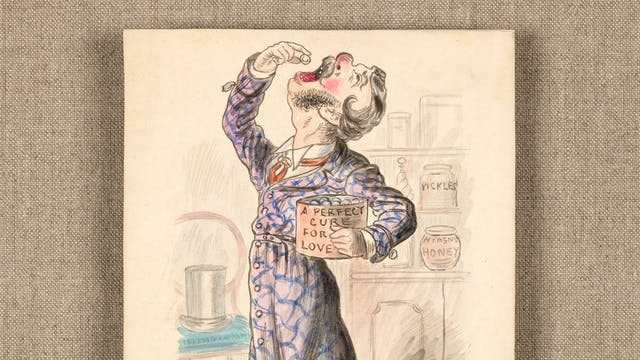 "Watercolour showing a man holding a tub of pills labelled ""A perfect cure for love"". On the floor is the lid for the tub labelled ""Hymen"