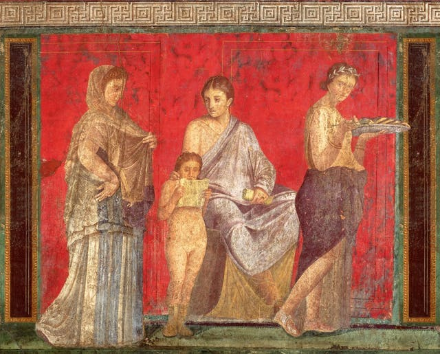Fresco showing four figures on a vermillion background, from the Villa Mystery, Pompeii