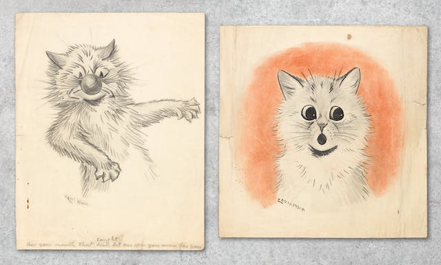 Photograph showing two works of art, side by side against a grey concrete textured background. Both artworks are pencil sketches of cats by Louis Wain. The words under the sketch on the right says,