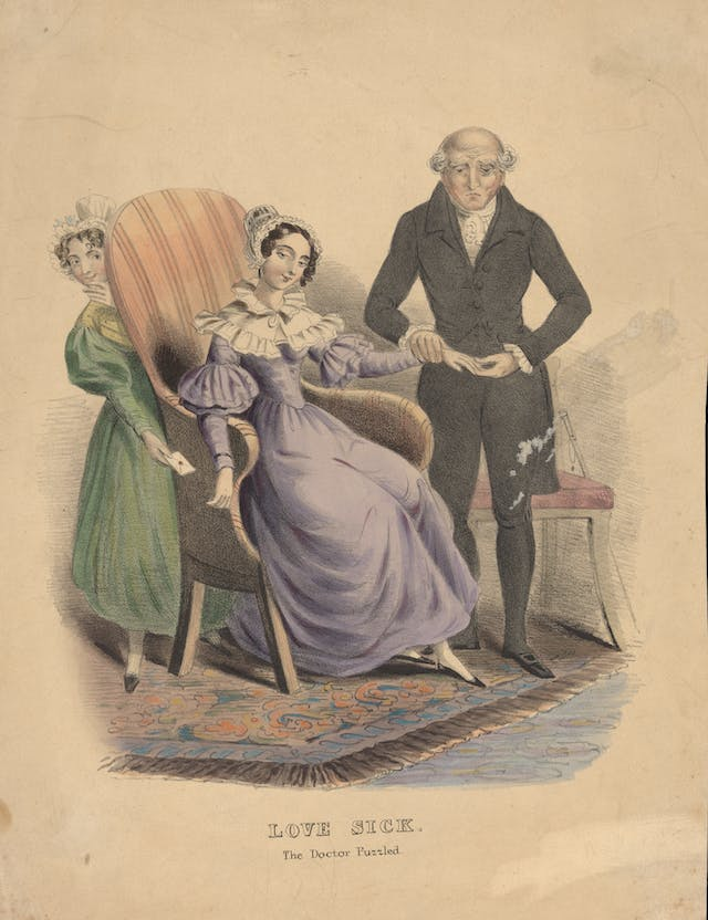 Coloured lithograph showing a baffled doctor taking the pulse of a love-sick young woman as her maid slips a love letter secretly into her hand from behind her chair.
