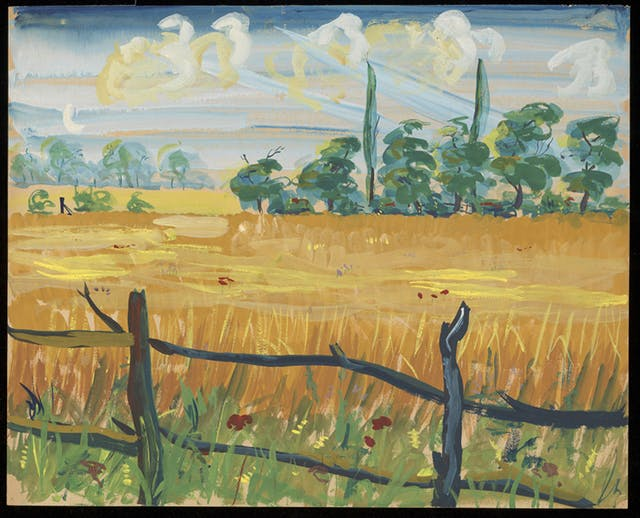 Cornfields with a wooden rail fence in the foreground. Painting by Ron Hampshire