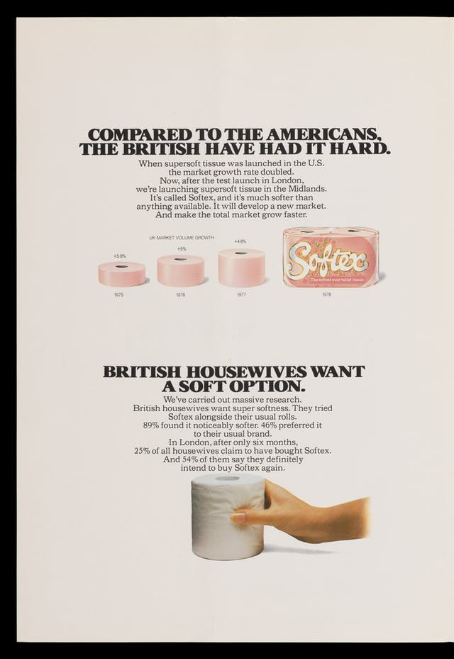 "Photograph of the inside page of a promotional leaflet for Andrex toilet tissue pushing the virtues of soft toilet tissue, with the title, ""Compared to the Americans the British have had it hard""."
