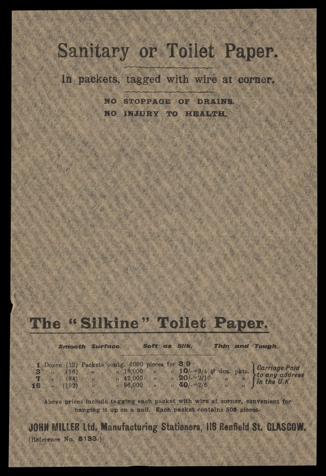 "Photograph of a toilet paper sample sheet, bearing the title ""Sanitary or Toilet Paper""."