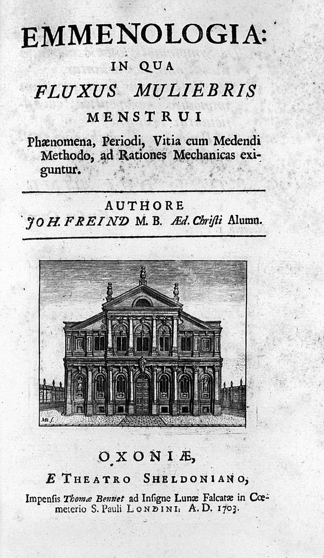 The title page of an early 18th century book written in latin, with an illustration of an Oxford college building.