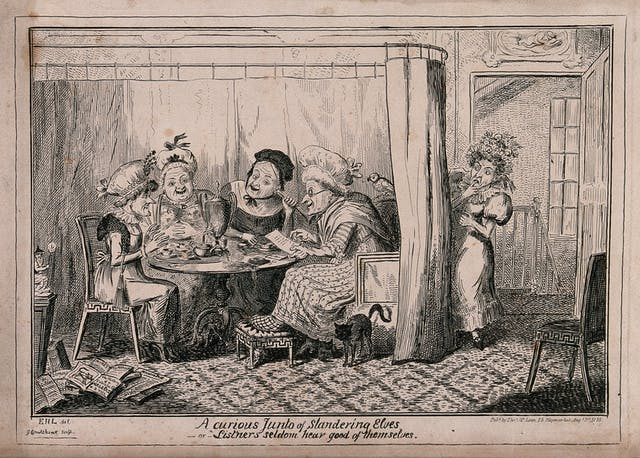Black and white illustration showing four women sitting around a table, talking and drinking tea. Another woman eavesdrops.