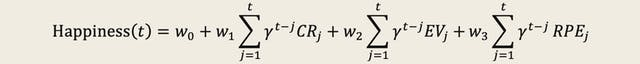 Seemingly complex mathematical formula defining happiness. The formula is in black type on a cream background. The formula starts,